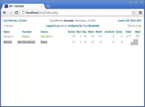 Image of the Zoneminder console in a web browser