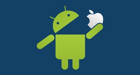 Parody image of Android logo eating the Apple logo