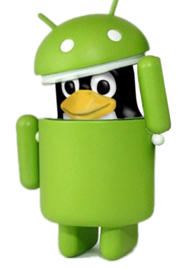 Image of Tux, the Linux mascot inside the Android logo.