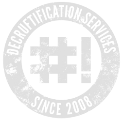 Image of a Crunchbang logo with the words decrustification services since 2008