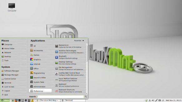 Image of the Linux Mint Desktop